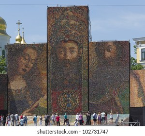 KIEV, UKRAINE - MAY 12: At Sofia square built altar of nations - a huge composition from 250,000 Easter eggs - copy of the Ghent altar (Flemish painters, XV century); Kiev, Ukraine, May 12, 2012