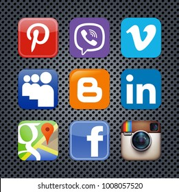 Kiev, Ukraine - May 13, 2015: Set of popular social media icons printed on white paper: Pinterest, Viber, Vimeo, MySpace, Blogger, LinkedIn, Instagram,  Facebook, Google Map.