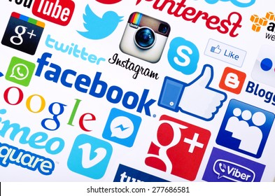 KIEV, UKRAINE - MAY 13, 2015: A logotype collection of  social media brand's  printed on paper.  Facebook, YouTube, Twitter, Google Plus, Instagram, Skype ,Pinterest  and other.