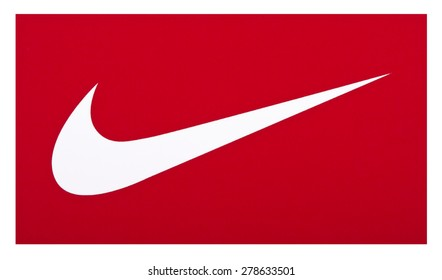 KIEV, UKRAINE - MAY 13, 2015: Nike brand logo on the box of shoes. Nike American company, a world-renowned manufacturer of sports clothing and footwear.