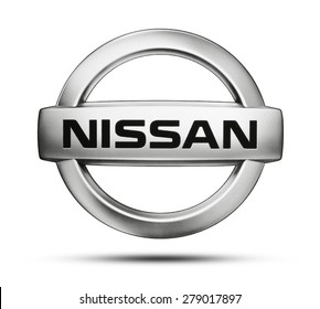 KIEV, UKRAINE - MAY 13, 2015: Nissan logo printed on paper and placed on white background. Nissan Motor Company Ltd Japanese  is a multinational car manufacturer in Japan.