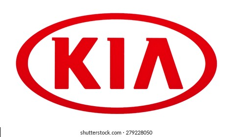 KIEV, UKRAINE - MAY 13, 2015: Kia Motors logo  printed on paper and placed on white background.  Kia Motors  is South Korea's second  largest automobile manufacturer.