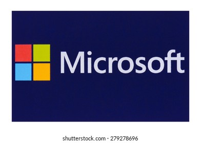 KIEV, UKRAINE - MAY 13, 2015: Microsoft logo on pc screen. Microsoft - one of the largest multinational companies in the production of proprietary software.