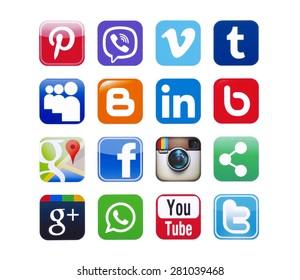 KIEV, UKRAINE - MAY 13, 2015: Social networks,twitter,linkedin,youtube,pinterest, instagram, viber, tumblr,facebook, WhatsApp,Google Plus, blogger and others printed on paper.