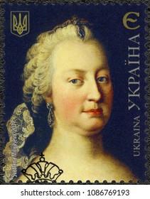 KIEV, UKRAINE - MAY 13, 2017: A stamp printed in Ukraine shows Maria Theresa Walburga Amalia Christina (1717-1780), 2017