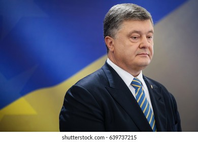 KIEV, UKRAINE - May 14, 2017: Press conference of President of Ukraine Petro Poroshenko in Kiev