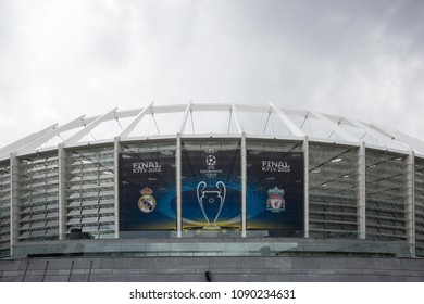 KIEV, UKRAINE - May 14, 2018: View of NSC Olympic stadium on the eve of the final match of UEFA Champions League-2018 in Kiev, Ukraine.