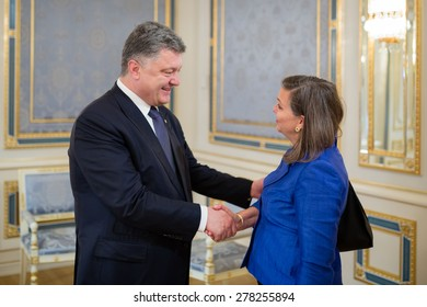 KIEV, UKRAINE - May. 15, 2015: US Assistant Secretary Victoria Nuland during a meeting with President of Ukraine Petro Poroshenko