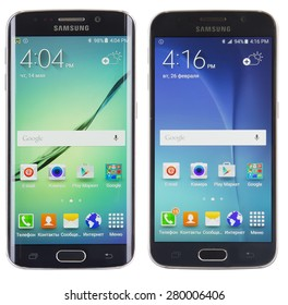 Kiev, Ukraine - May 15, 2015: Studio shot of a Black Sapphire Samsung Galaxy S6 Edge and a Black Sapphire Samsung Galaxy S6, with 16 mP Camera, Cortex and 5.1nch display, 2560x1440px resolution.