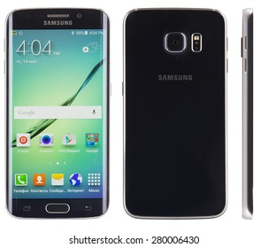 Kiev, Ukraine - May 15, 2015: Studio shot of a Black Sapphire Samsung Galaxy S6 Edge smartphone, with 16 mP Camera, Cortex and 5.1nch display, 2560x1440px resolution.