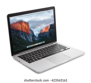 Kiev, Ukraine - May 15, 2016:Brand new Macbook Pro with with Retina display and OS X EL Capitan isolated. MacBook is a brand of notebook computers manufactured by Apple Inc.