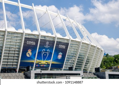 Kiev, Ukraine- May 15, 2018: Exterior view of the NSC Olimpiyskiy Satdium with banner UEFA Champions League Final.