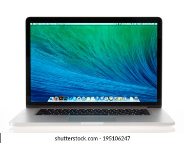 KIEV, UKRAINE - MAY 16, 2014: Studio shot of brand new Apple MacBook Pro with Retina Display, a third generation in MacBook series, designed and developed by Apple inc. in October 22, 2013.