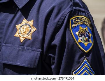 KIEV, UKRAINE - MAY 16, 2015: Shoulder patches US police - California Highway Patrol.