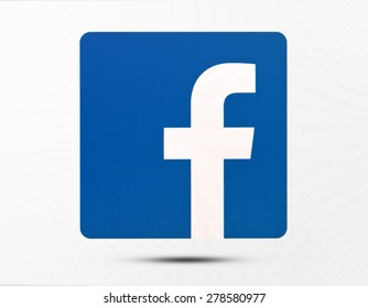 KIEV, UKRAINE - MAY 16, 2015: Facebook like logo for e-business, web sites, mobile applications, banners on pc screen. Social network facebook sign on pc sign.