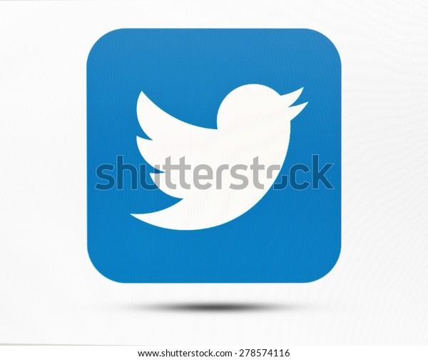 KIEV, UKRAINE - MAY 16, 2015: Twitter logotype on pc screen. Twitter social network for public exchange of short messages using the web interface, SMS, instant messaging tools.