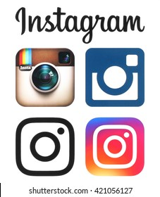 Kiev, Ukraine - May 16, 2016: Instagram old and new logos and icons printed on white paper. Instagram is an online mobile photo-sharing, video-sharing service.