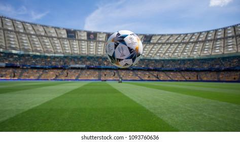Kiev, Ukraine - May 16, 2018: UEFA Champions League Final Kyiv official match ball mini on NSC Olimpiyskiy Satdium.