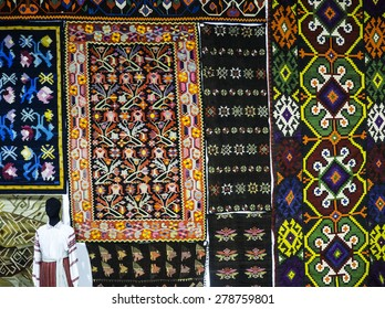 "KIEV, UKRAINE - MAY 17, 2015: Carpet with ukrainian ornament -- The International Festival of Traditional Culture ""EtnoSvit"""