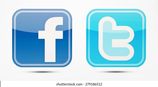 KIEV, UKRAINE - MAY 19, 2015: Facebook and Twitter like logo for e-business, web sites, mobile applications, banners,Social network facebook and twitter sign on pc sign.