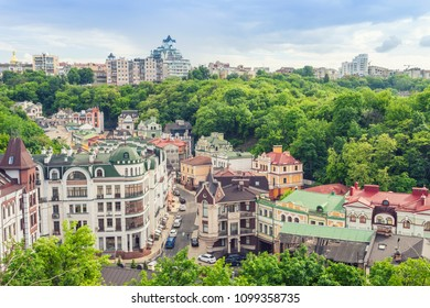 Kiev, Ukraine- May 19, 2018: New elite Kiev quarter. Photo shows the completion of construction and partial settlement houses. Is located in the tract Potters Kozhumyaki, Podolsk district of Kiev.