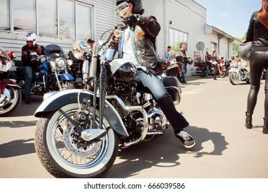 Kiev, Ukraine - May 19: Motorcycles at the opening of the biker season in Kiev, May 19, 2017.