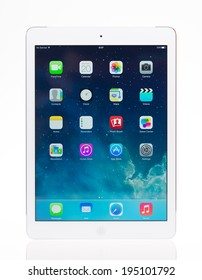 KIEV, UKRAINE - MAY 20, 2014: Studio shot of brand new white Apple iPad Air, the most advanced digital tablet in part of the iPad line. Developed by Apple inc. and was released on November 1, 2013.