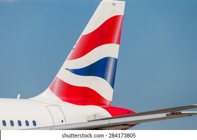 KIEV, UKRAINE - MAY 20, 2015: British Airways Airbus A319-131 tail livery at Borispol International Airport on May  20, 2015. British Airways is one of the bigest airlines in Europe