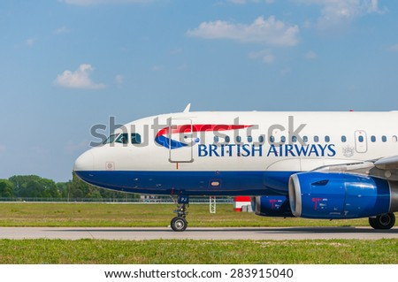KIEV, UKRAINE - MAY 20, 2015: British Airways Airbus A319-131 taxiing to take-off from KBP. British airways is one of the leading flying companies.
