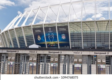 KIEV, UKRAINE - MAY 20, 2018: NSC Olimpiyskiy Stadium with banner of UEFA Champions League final. The biggest game in club football will this season be contested by Real Madrid and Liverpool.