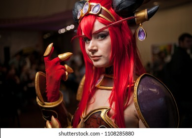 Kiev, Ukraine - May 20, 2018: Kiev Comic Con, an annual fandom convention in Kiev, Ukraine. Young people in costumes during the festival of Kiev comics. Cosplay Marvel, DC. Cosplayers in costumes.