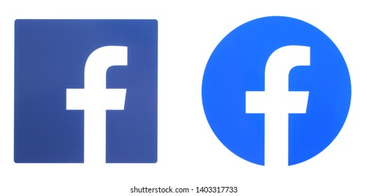 Kiev, Ukraine - May 20, 2019: New Facebook logo printed on white paper.