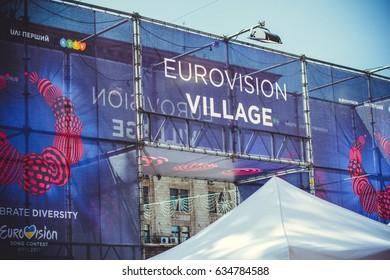 Kiev, Ukraine, May 2017 : Preparation for Eurovision in the center of the capital  . Kiev, Ukraine