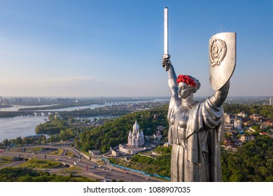 Kiev, Ukraine - May, 2018: Mother Motherland monument in Kiev. Historical sights of Ukraine. The monument is decorated to the Victory Day in the Second World War.
