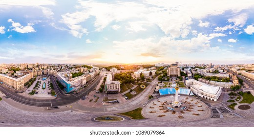 Kiev, Ukraine - May, 2018: Panoramic view from the air to Maydan Nezalezhnosti.  Full panorama 360 degrees in the equiangular equidistant spherical projection. Contents of VR.