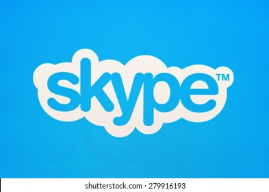 KIEV, UKRAINE - MAY 21, 2015: Skype logo on pc screen. Skype is a telecommunications  software  is closed source, providing text, voice and video over the Internet, developed by Microsoft.