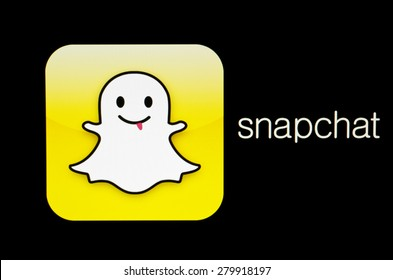 KIEV, UKRAINE - MAY 21, 2015: Snapchat logo  on pc screen.  Snapchat is popular a photo messaging application.
