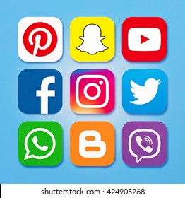 Kiev, Ukraine - May 23, 2016: Set of most popular social media icons: Twitter, YouTube, WhatsApp, Snapchat, Facebook ,Viber ,Iinstagram, Blogger, Pinterest and others logos printed on paper.