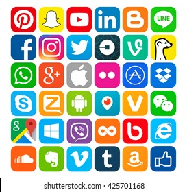 Kiev, Ukraine - May 23, 2016: Set of most popular social media icons: Pinterest, Twitter, YouTube, WhatsApp, Snapchat, Facebook,Skype, Instagram, Android, Flickr,  and others logos printed on paper.