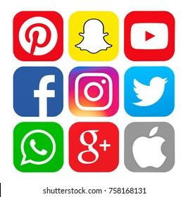 Kiev, Ukraine - May 23, 2016: Set of popular social media icons printed on white paper: Pinterest, Instagram, Youtube, WhatsApp,  Facebook, Snapchat, Google Plus, Twitter, Apple.