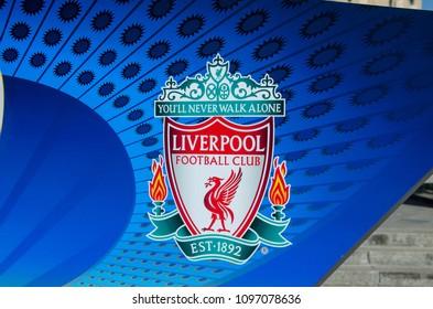 Kiev, Ukraine- May 23, 2018: Liverpool Logo on banner of the UEFA Champions League in Kiev.