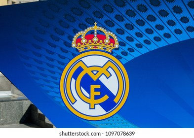 Kiev, Ukraine- May 23, 2018: Real Madrid Logo on banner of the UEFA Champions League in Kiev.