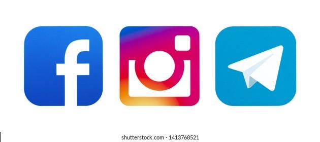 Kiev, Ukraine - May 23, 2019: Set of most popular social media icons: Facebook, Instagram, Telegram printed on paper.