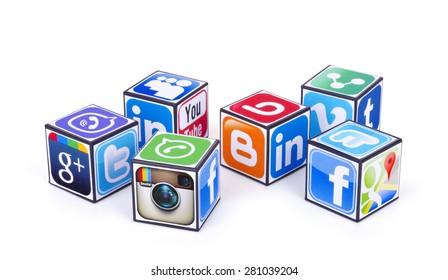 KIEV, UKRAINE - MAY 24, 2015:  Cubes  with logotypes of social media: Facebook,  Twitter, Google Plus, Instagram, Pinterest, Linkedin, viber, tumblr, blogger, youtube, Vimeo and other logos
