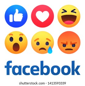 Kiev, Ukraine - May 24, 2019: New Facebook like button 6 Empathetic Emoji Reactions printed on white paper. Facebook is a well-known social networking service