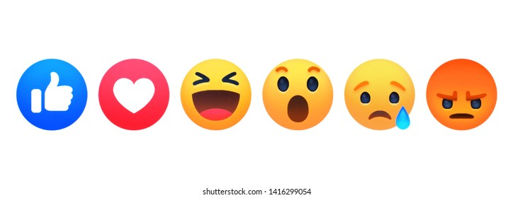 Kiev, Ukraine - May 24, 2019: new emoticons on facebook. Different emotions printed on white paper. Facebook is a famous social