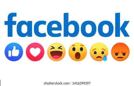 Kiev, Ukraine - May 24, 2019: new Facebook emoticons and Facebook inscription printed on white paper. Facebook is a famous social network.