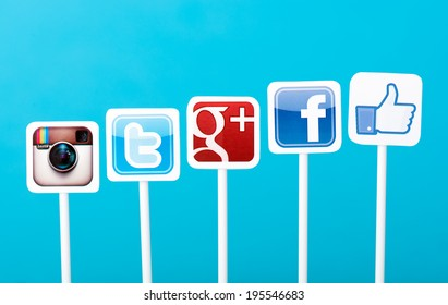 KIEV, UKRAINE - MAY 25, 2014: A collection of well-known social media brands printed on paper and placed on plastic signs. Include Facebook, Twitter, Google Plus and Instagram logos.