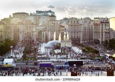 KIEV, UKRAINE - MAY 25, 2018: View of Maidan Nezalezhnosti, Independence Square. Kyiv prepares to host UEFA Champions League final match between Real Madrid and Liverpool at NSC Olympic.