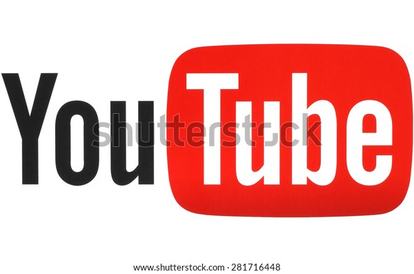 KIEV, UKRAINE - MAY 26, 2015: YouTube logotype printed on paper. YouTube is a video-sharing website. The service was created by three former PayPal employees in February 2005